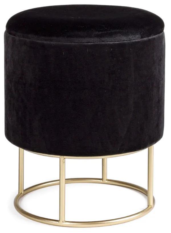 Puf catifea neagra cu capac Ø34,5cm Polina