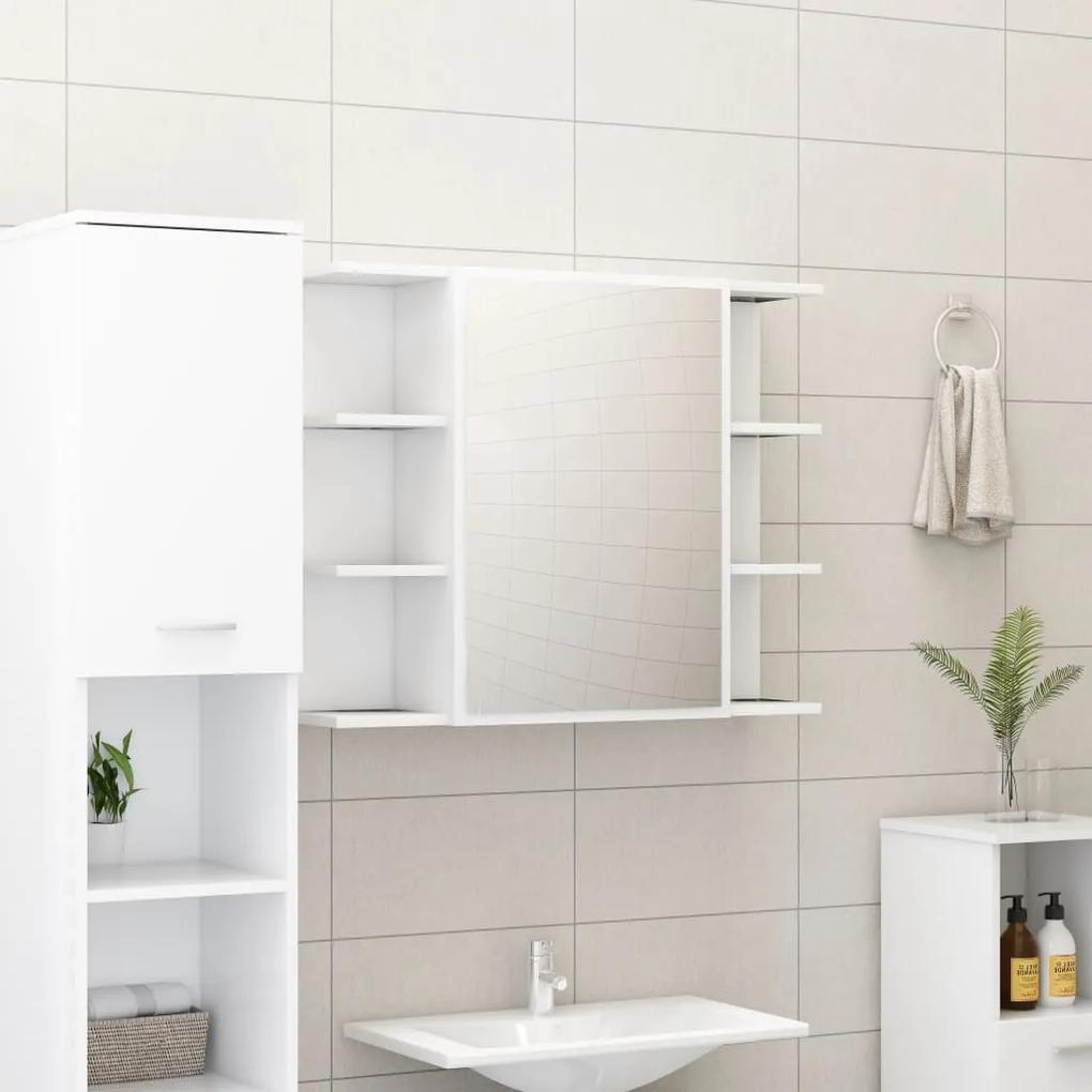 802606 vidaXL Dulap de baie cu oglindă, alb, 80 x 20,5 x 64 cm, PAL