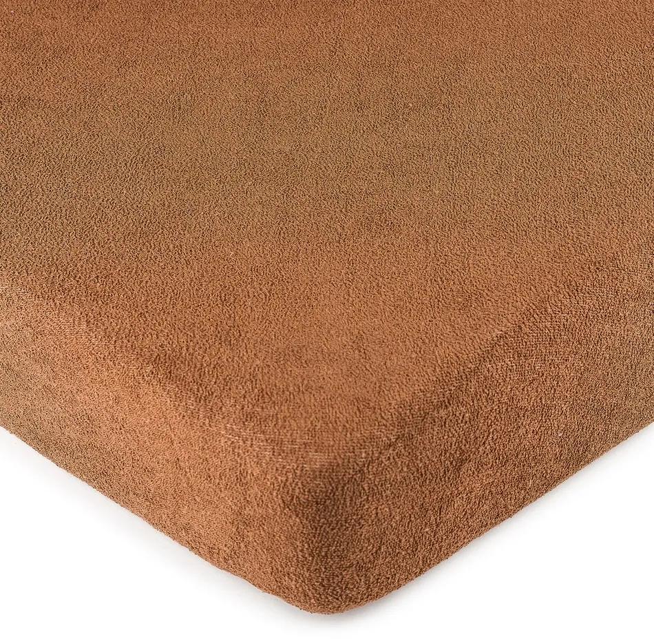 Cearșaf 4Home, din bumbac fin, maro, 90 x 200 cm, 90 x 200 cm