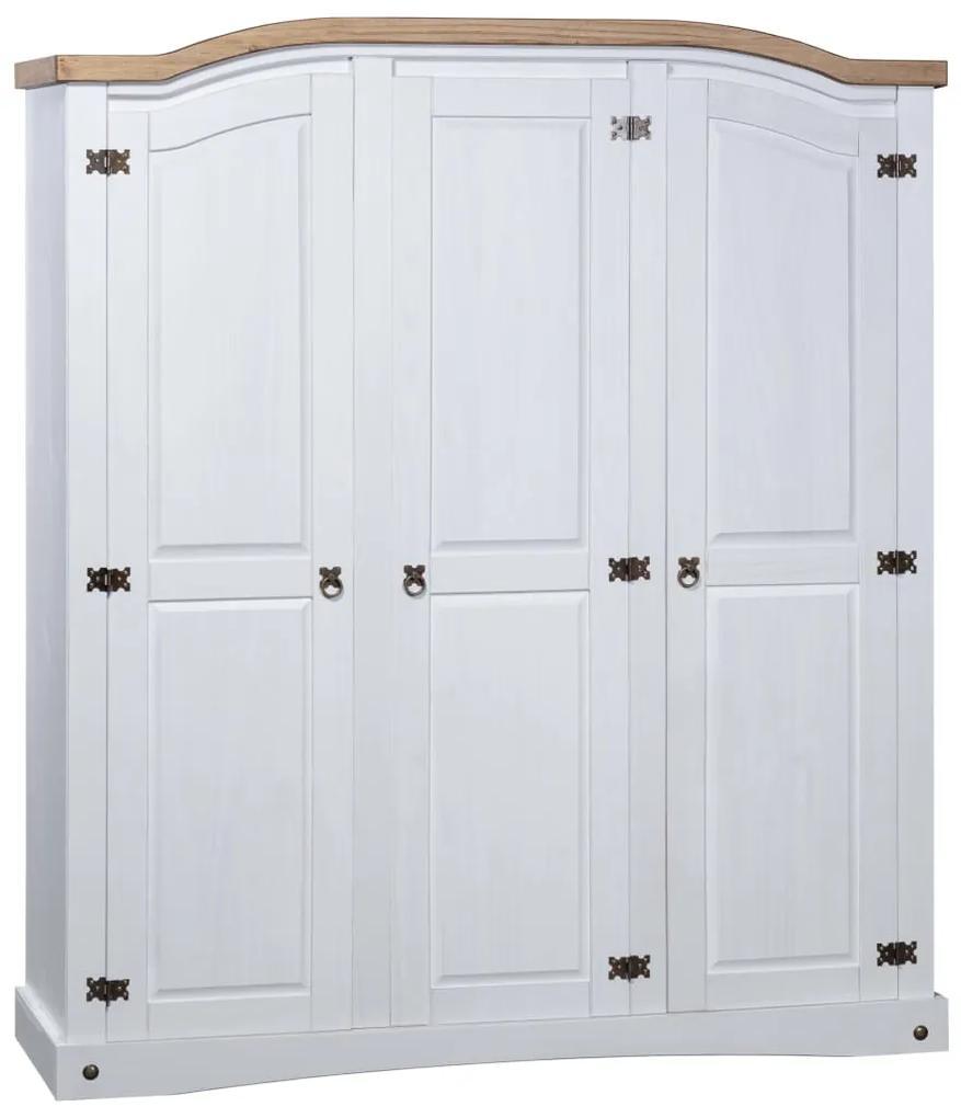 282622 vidaXL Șifonier, alb, lemn de pin mexican, 3 uși, colecție Corona