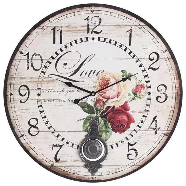 Ceas de perete din lemn Romantic Roses cu pendul D-58 cm