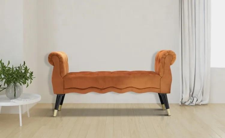 Banca tapitata cu stofa, cu picioare din lemn Paris Caramiziu, l120xA40xH60 cm