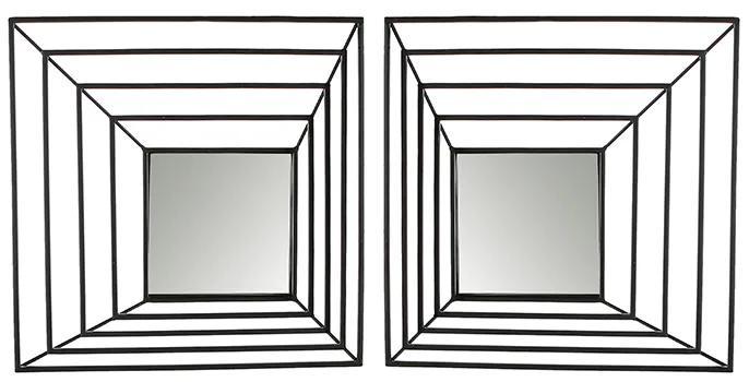 Set 2 oglinzi Shift, metal, negru, 6.5x40.5x40.5 cm
