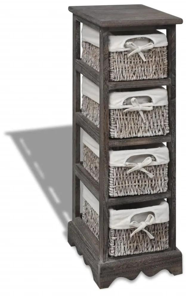 240800 vidaXL Dulap de depozitare din lemn, 4 coșuri împletite, maro