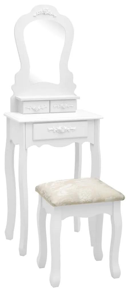 289310 vidaXL Set masă de toaletă cu taburet alb 50x59x136 cm lemn paulownia