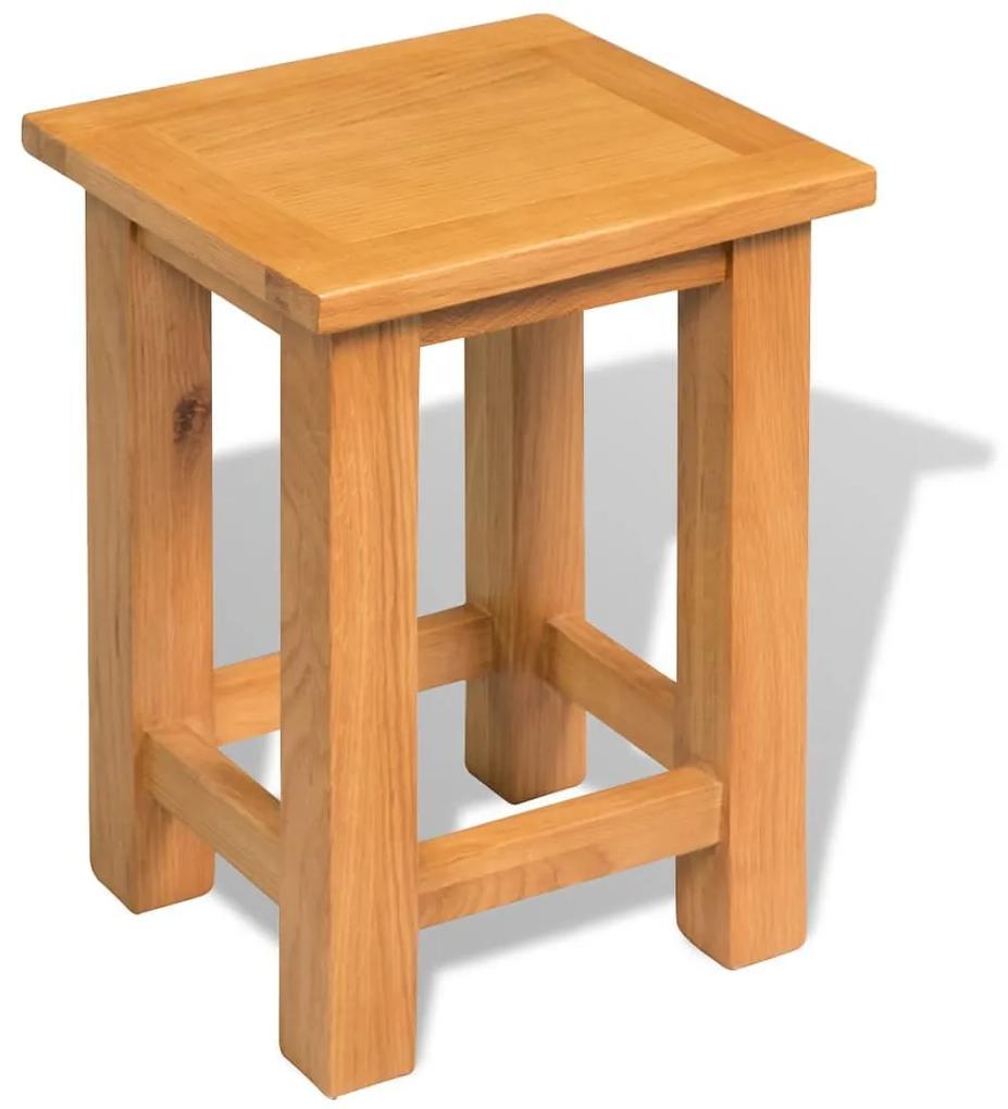 244207 vidaXL Masă de capăt, 27 x 24 x 37 cm, lemn masiv de stejar