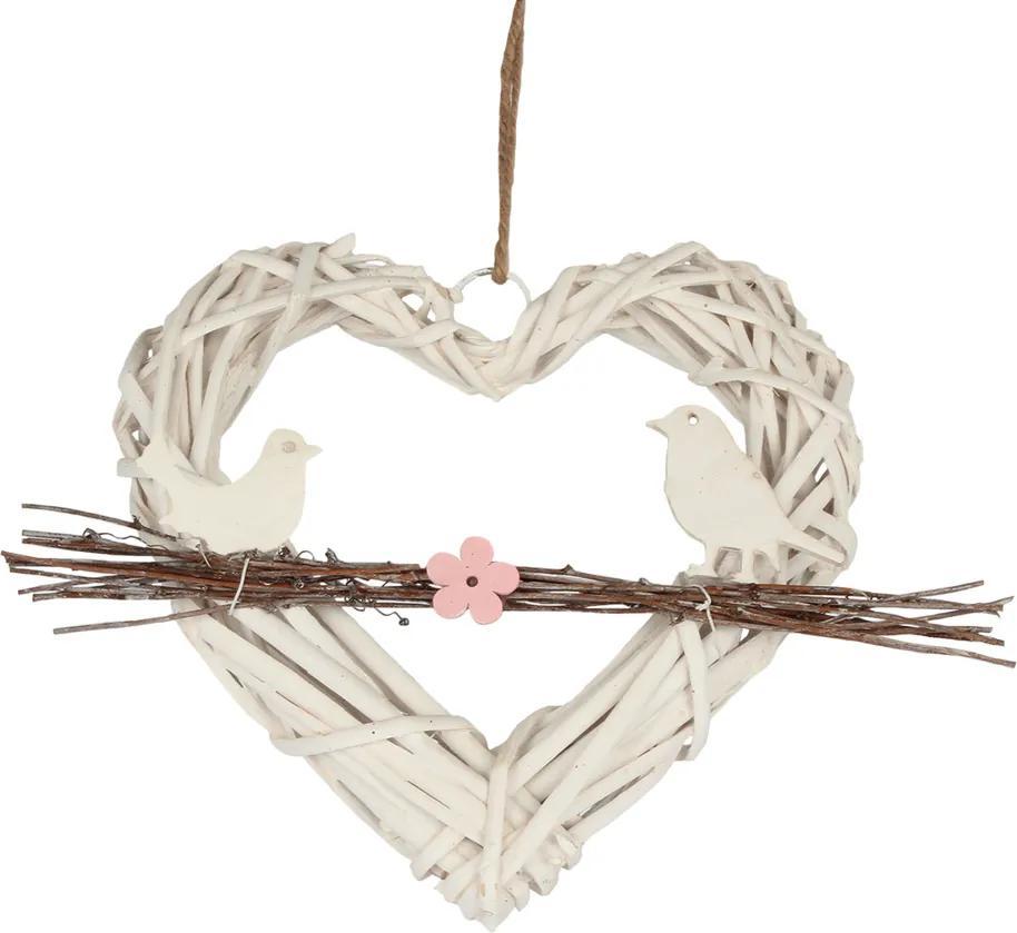 Decoraţiune suspendată Inimă din ratan, cu păsări pe o creangă