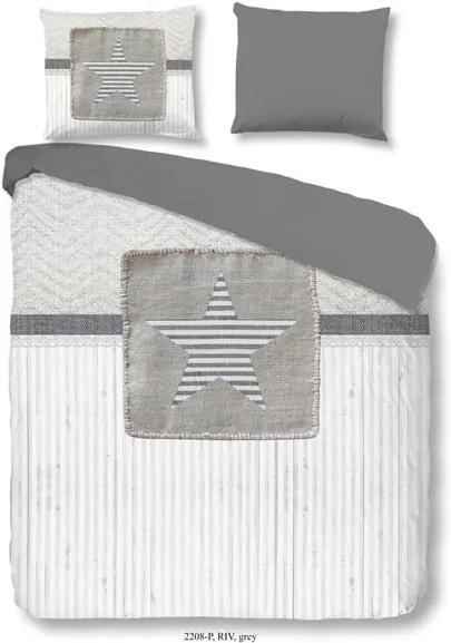 Lenjerie din bumbac pentru pat dublu Good Morning Riv Grey, 200 x 240 cm