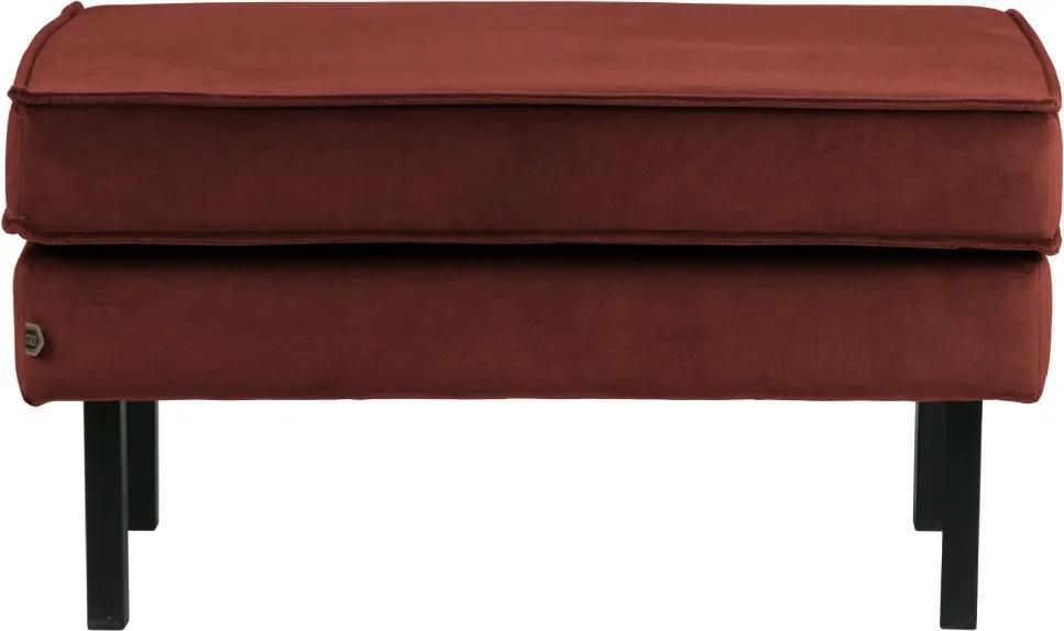 Bancheta din catifea rosie Rocco Hocker Velvet Red