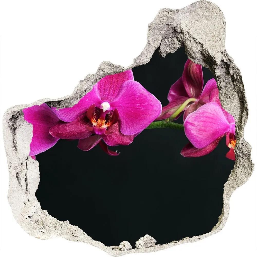 Autocolant de perete gaură 3D Orhidee