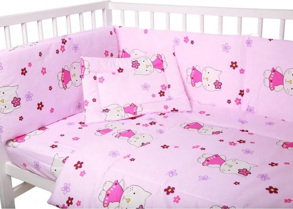 Lenjerie patut cu 3 piese Little Kitty Pink 039