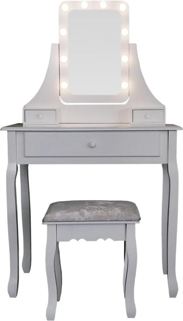 Set Eveline, Masă de toaletă pentru machiaj cu oglindă iluminată LED, 3 sertare, scaun, Alb