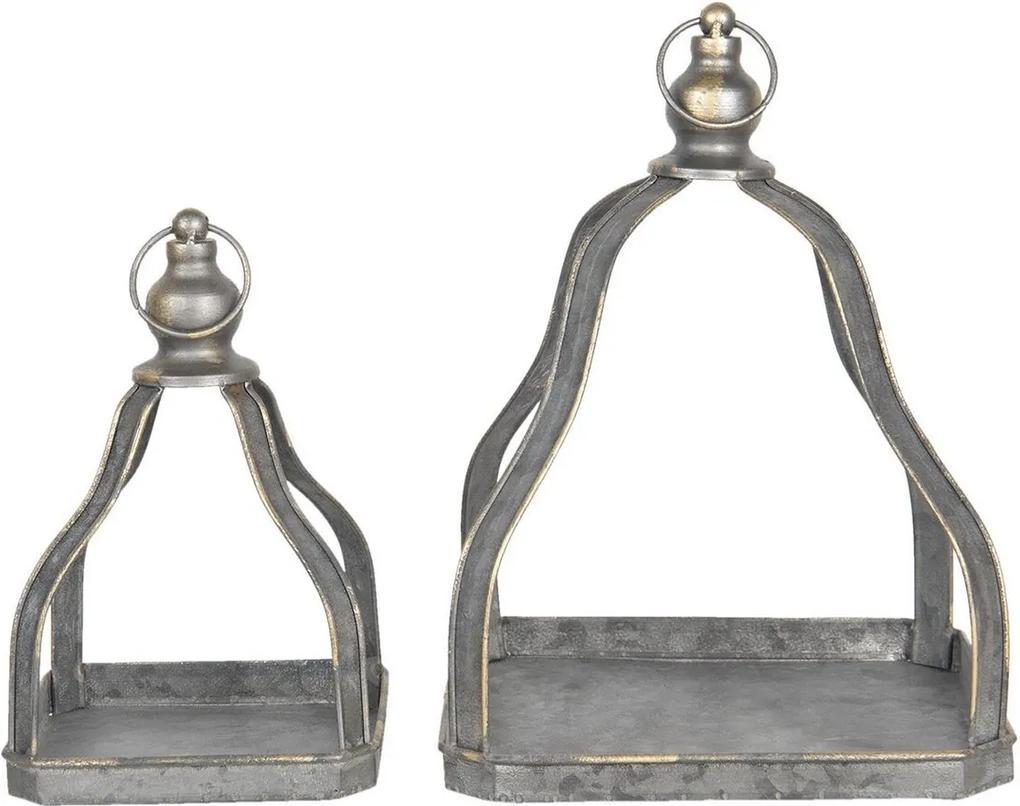 Set 2 suporturi suspendabile pentru ghivece flori din fier negru cu patina aurie 23 cm x 23 cm x 32 h