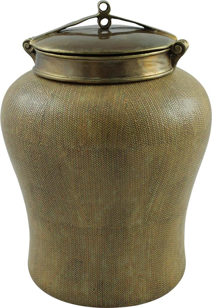 Recipient din ratan cu capac din metal maro 31 cm
