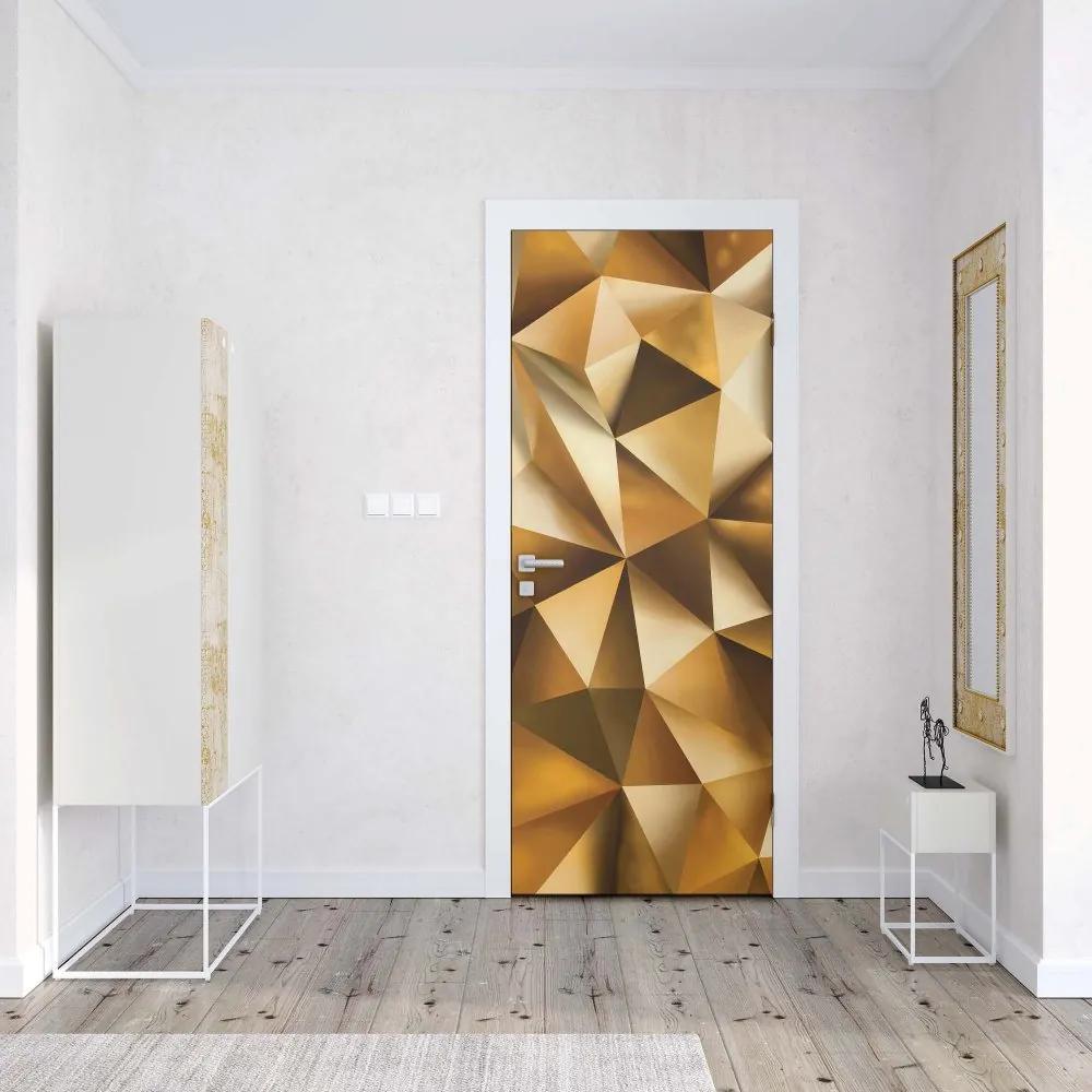 GLIX Tapet netesute pe usă - 3D Polygon Texture Gold