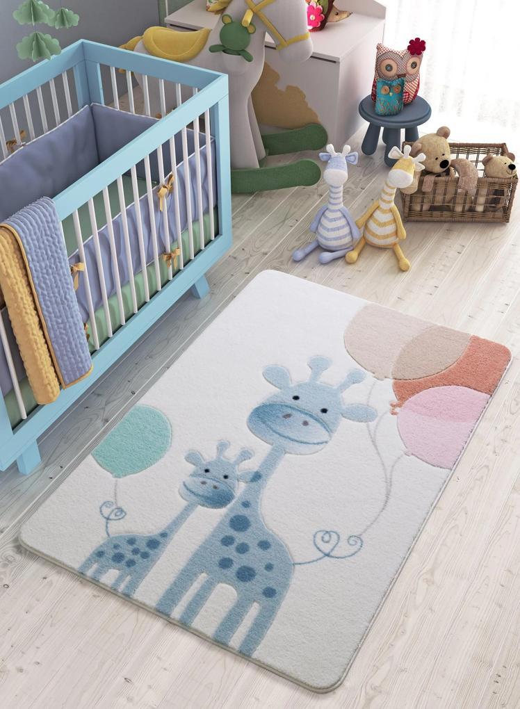 Covor pentru copii Happy Giraffe Albastru 133 x 190 cm