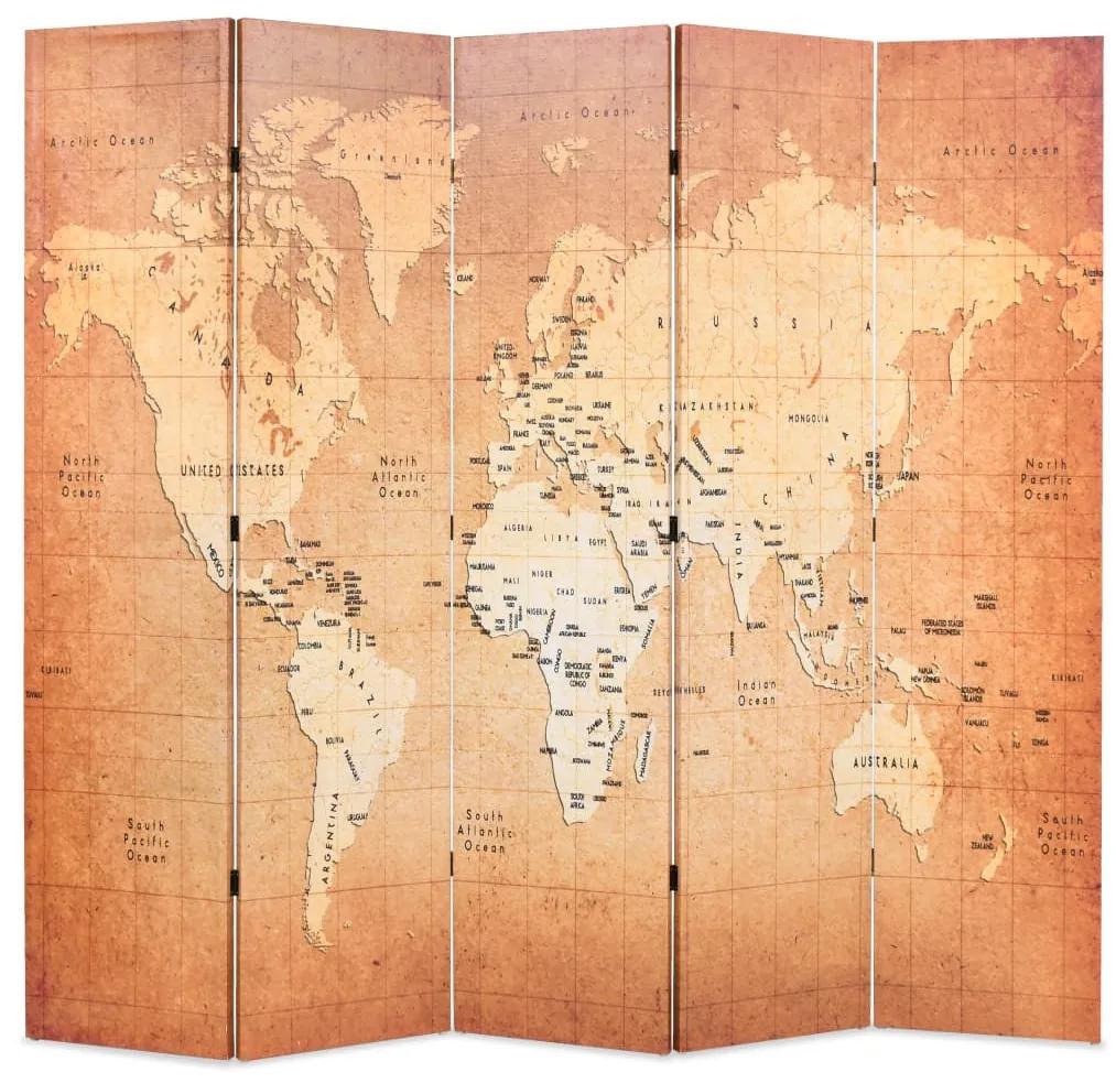 245879 vidaXL Paravan de cameră pliabil, galben, 200 x 170 cm, harta lumii