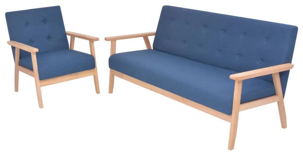274913 vidaXL Set canapea, 2 piese, textil, albastru