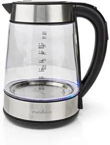 Fierbator electric Nedis 1.7L, vas de sticla, baza rotativa, 2200W