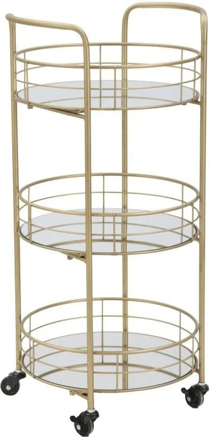 Cărucior pentru servire cu 3 etaje Mauro Ferretti Rondo, auriu
