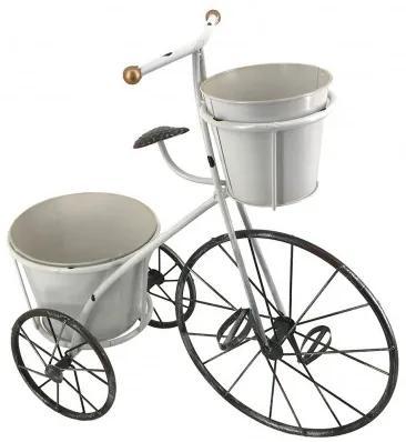 Suport ghivece din metal Tricycle Alb / Negru, l56xA24xH53 cm