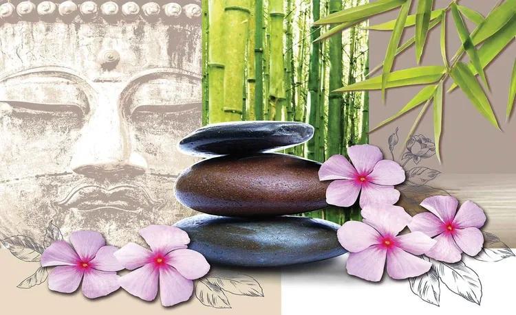 Flowers With Zen Stones Fototapet, (416 x 254 cm)