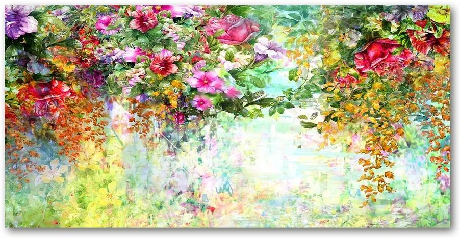 Tablou din Sticlă Flori multi-colorate