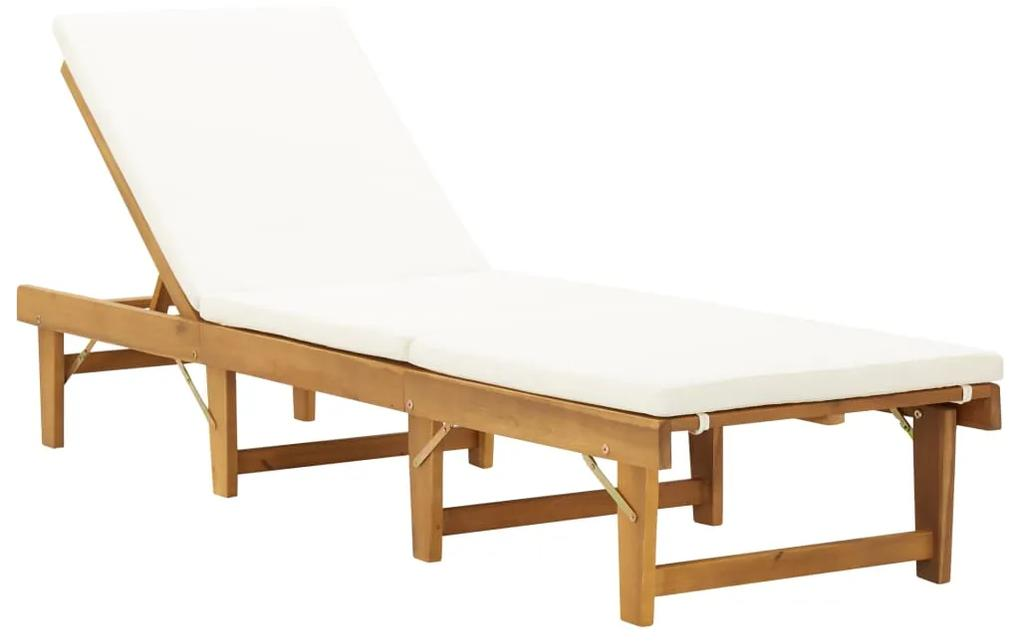 46490 vidaXL Șezlong pliabil cu pernă, lemn masiv de acacia