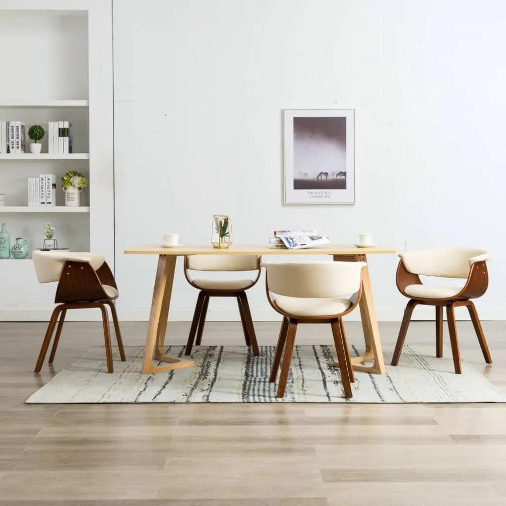 278725 vidaXL Scaune de bucătărie, 4 buc, crem, lemn curbat & piele ecologică