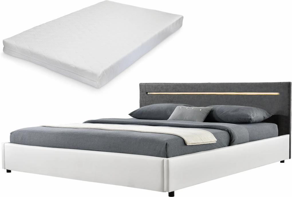 Corium® [my.bed] Pat elegant frantuzesc cu iluminat cu LED - cu saltea cu spuma recel - 140x200cm (Partea capului: imitatie de piele Wild gri Rama: imitatie de piele alb) - cu rama pat