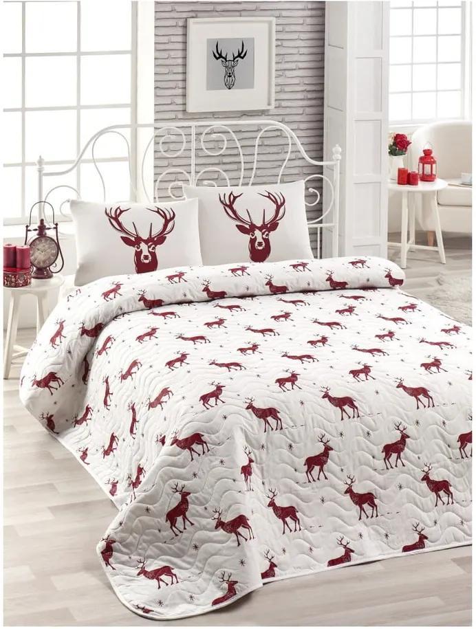Set cuvertură pat și față de pernă din amestec de bumbac Geyik Claret Red, 160 x 220 cm