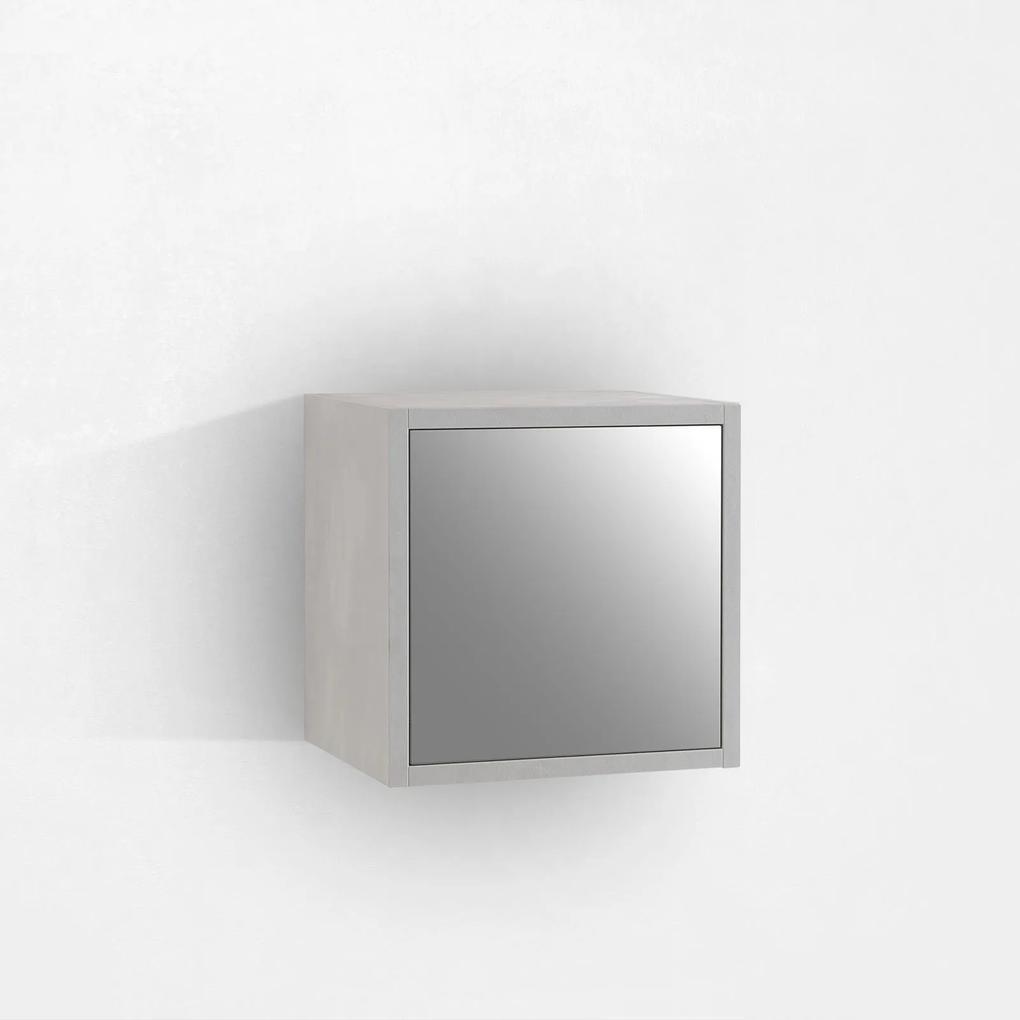 Corp suspendat cu oglinda OSLO, Melamina, Alb, 34x27x34 cm