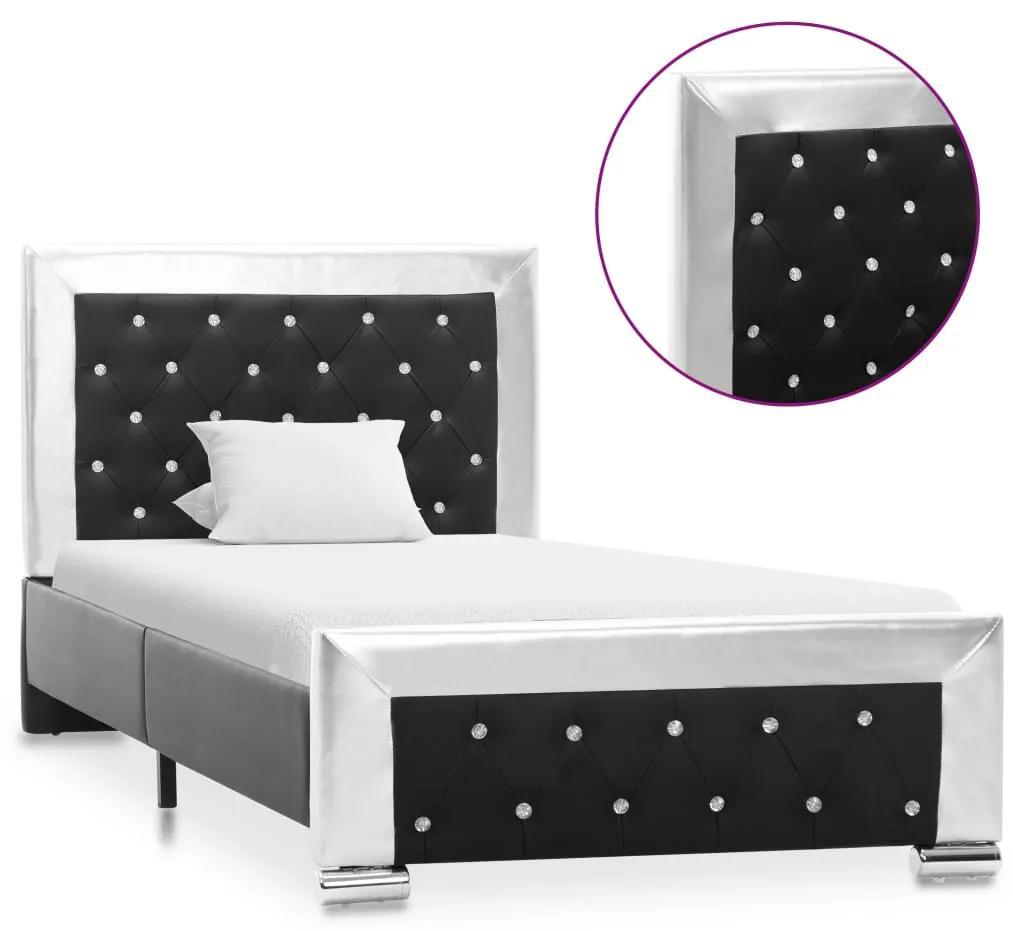 286793 vidaXL Cadru de pat, negru, 90 x 200 cm, piele ecologică
