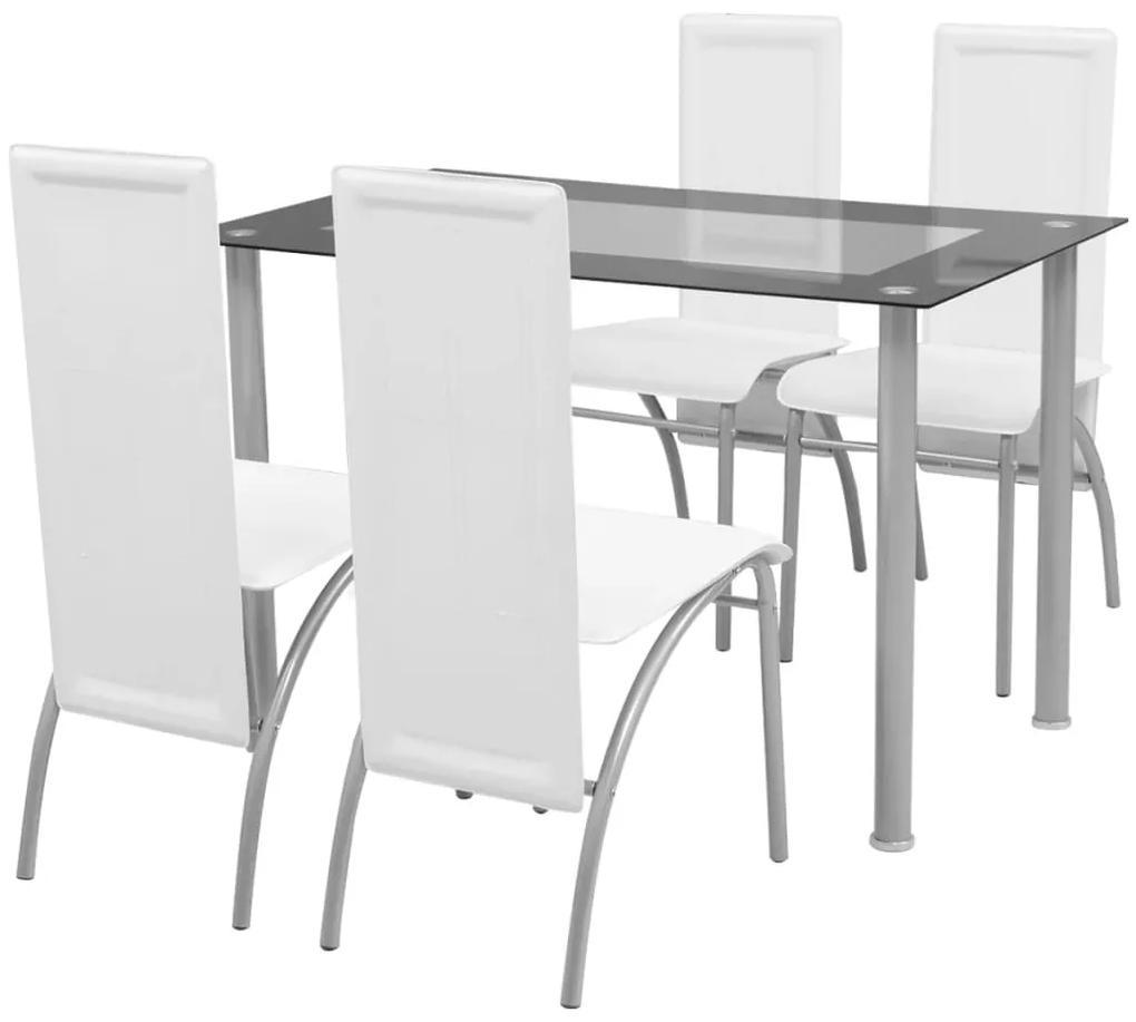 242913 vidaXL Set masă cu scaune, 5 piese, Alb
