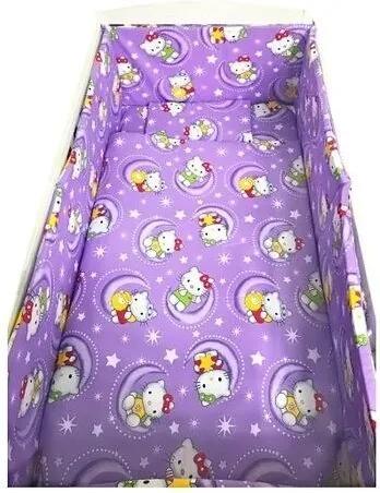 Croitoria Noastra - Lenjerie de patut bebelusi 140x70 cm 5 piese cu aparatori laterale pufoase CN Hello Kitty