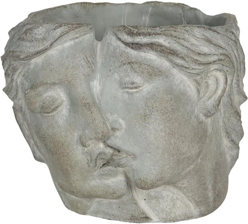 Ghiveci din ceramica gri 16 cm x 14 cm x 13 h