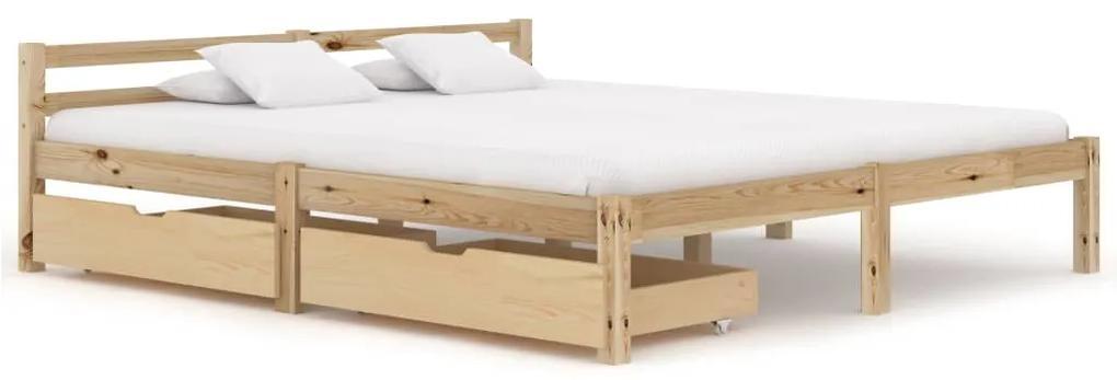 3060331 vidaXL Cadru de pat cu 2 sertare, 160x200 cm, lemn masiv de pin