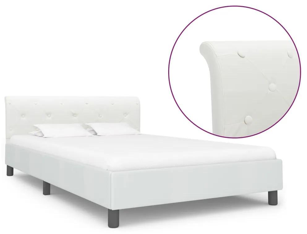 284872 vidaXL Cadru de pat, alb, 120 x 200 cm, piele ecologică