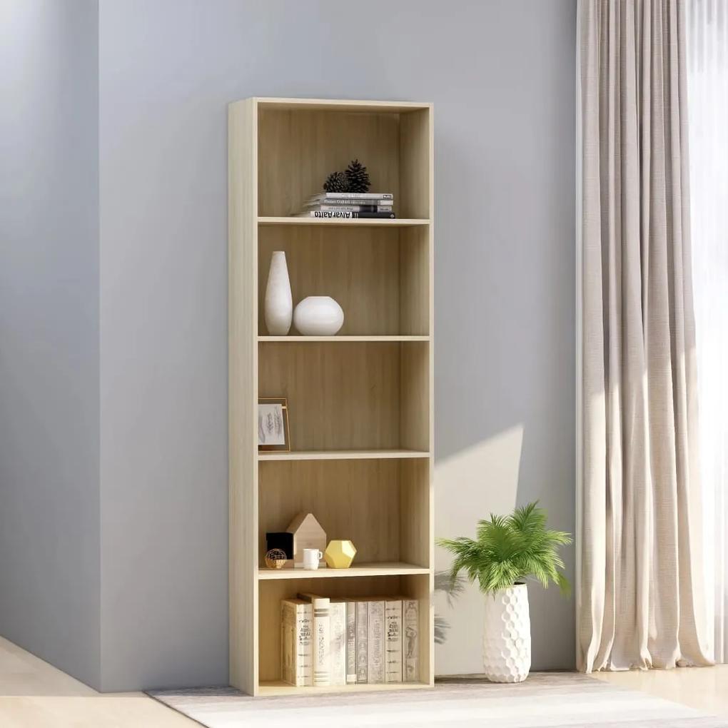 800993 vidaXL Bibliotecă cu 5 rafturi, stejar Sonoma, 60 x 30 x 189 cm, PAL
