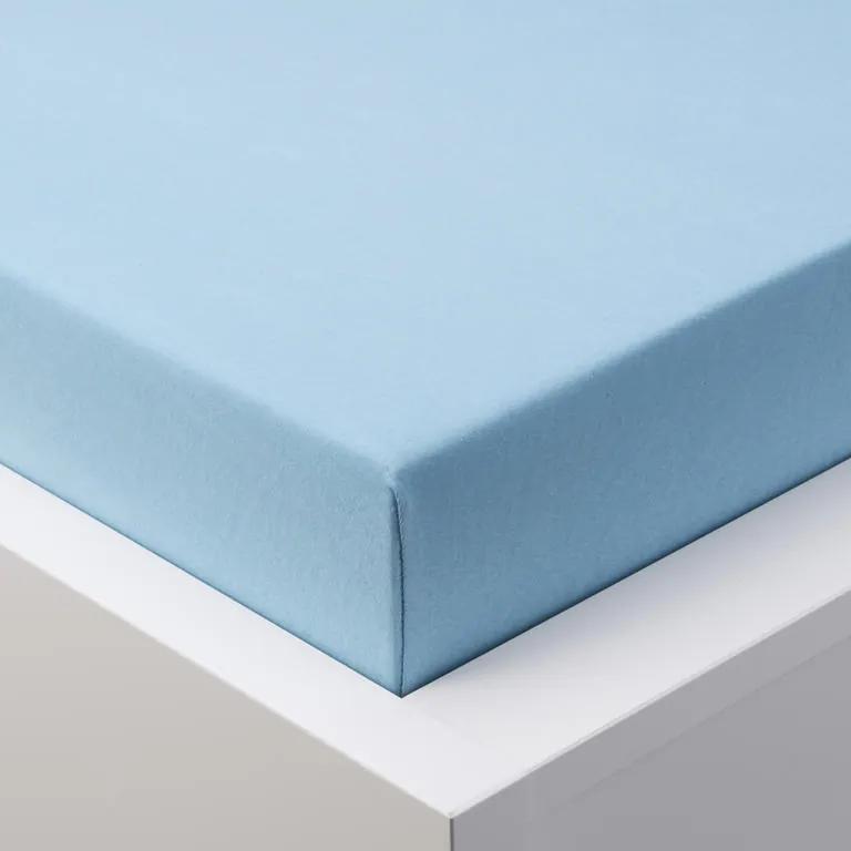 Cearșaf cu elastic jersey EXCLUSIVE de culoare albastră pat dublu