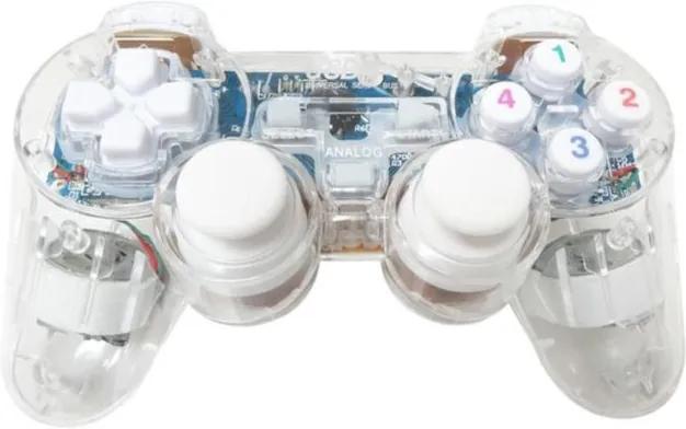 Telecomanda Jocuri Controller Double Shock USB, iluminata LED culoare albastru, cu fir,  pentru PC sau Laptop
