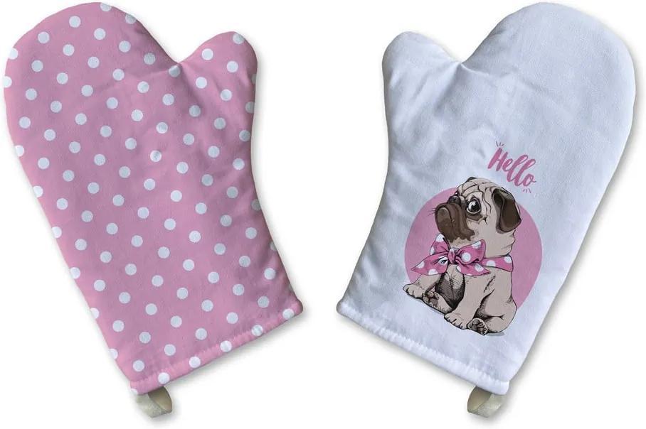 Set 2 mănuși de bucătărie din bumbac Butter Kings Hello Pup