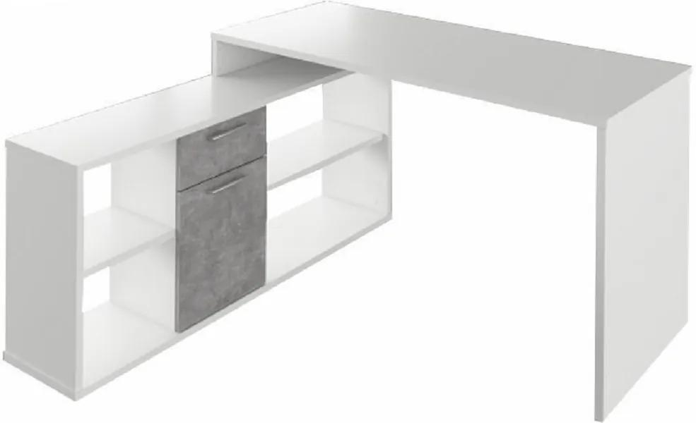 Masa PC, albă/ciment, NOE NEW