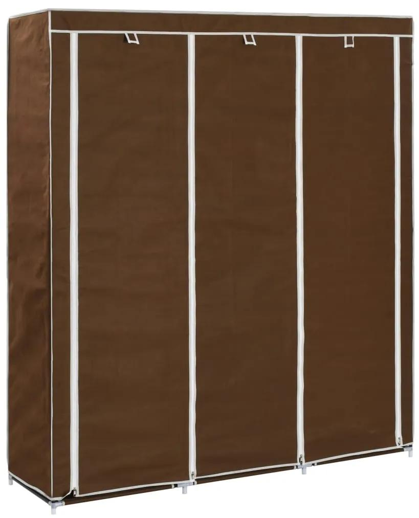 282454 vidaXL Dulap cu bare și compartimente, maro, 150x45x175 cm, textil