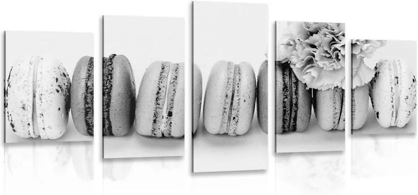 Tablou 5-piese macarons gustoase în design alb-negru