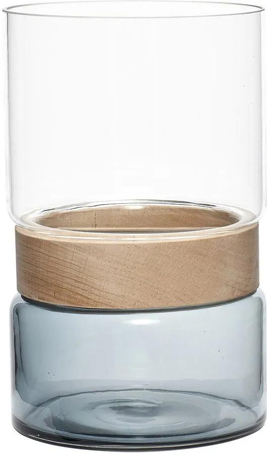 Vaza Transparenta din Sticla si Lemn - Sticla Transparent diametru(16cm) x inaltime(26cm)
