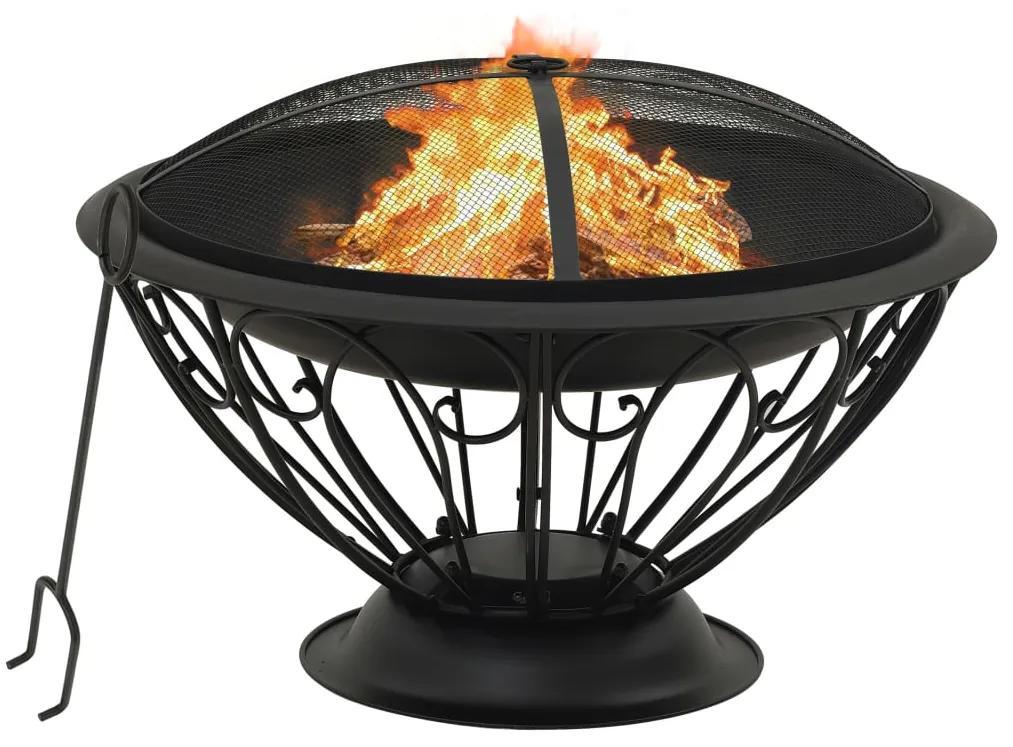 311895 vidaXL Vatră de foc cu vătrai, 75 cm, oțel, XXL