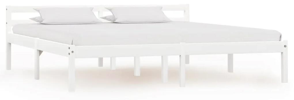 283189 vidaXL Cadru de pat, alb, 180 x 200 cm, lemn masiv de pin
