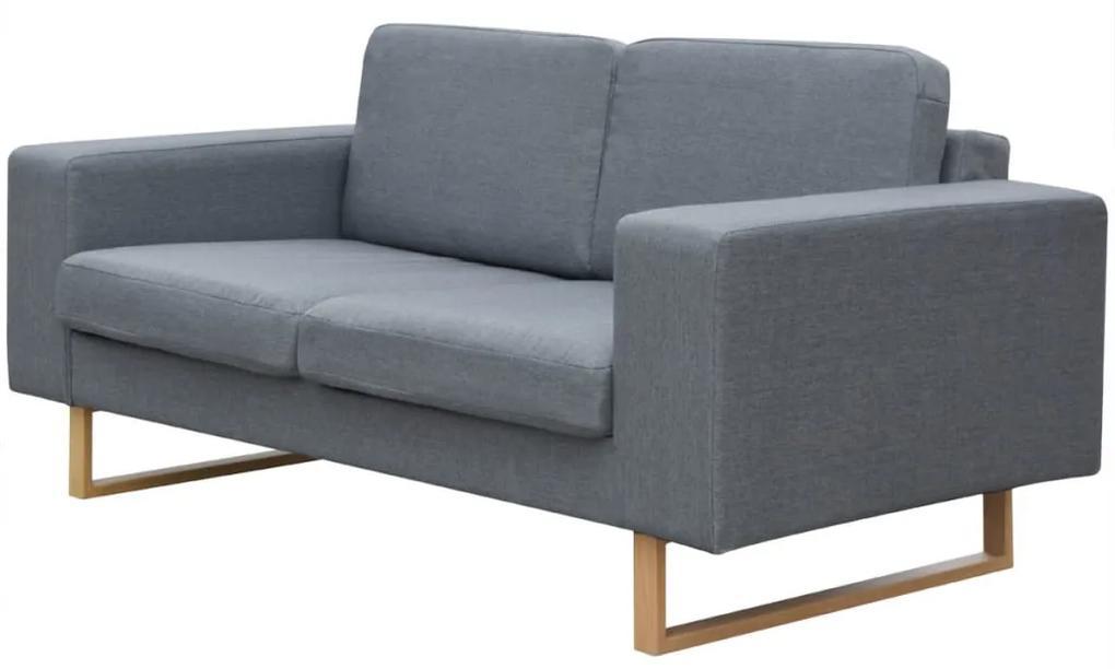 243184 vidaXL Canapea textilă pentru 2 persoane, Gri deschis