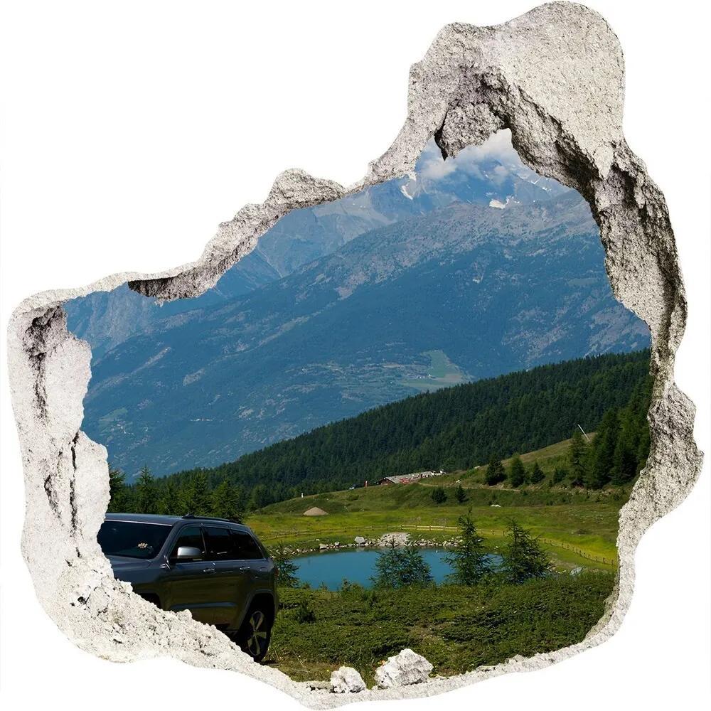 Fototapet un zid spart cu priveliște Masina off-road